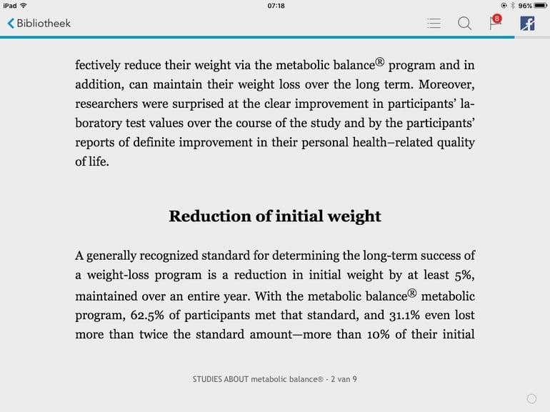 Wetenschappelijk onderzoek Metabolic Balance