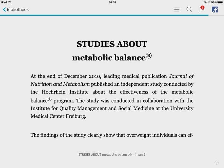 Studies about Metabolic Balance