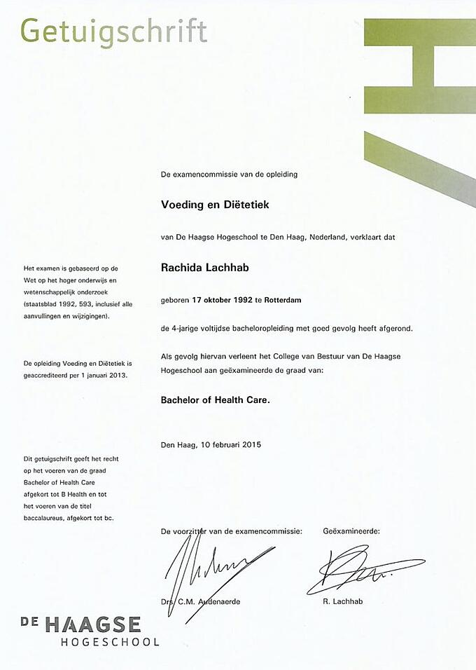 Rachida Lachhab Nederland Slank diploma Voeding en Dietetiek