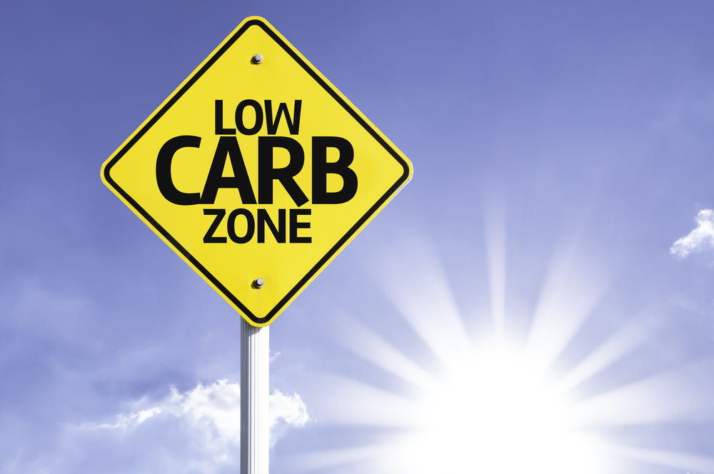 Low Carb Zone road sign with sun background