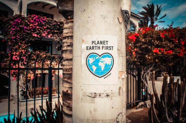 de aarde en plantaardig eten
